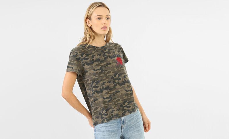 T-shirt army délavé broderie rose vert