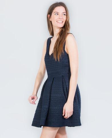 Skater-Kleid mit Lurex Blau