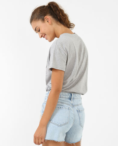 T-Shirt mit Choker-Kragen Grau