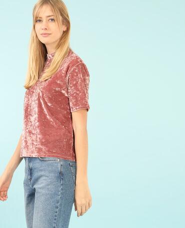 Camiseta de terciopelo con hombros descubiertos rosa