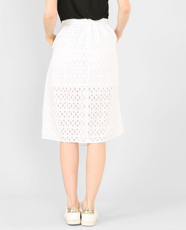 Falda midi ancha bordada blanco