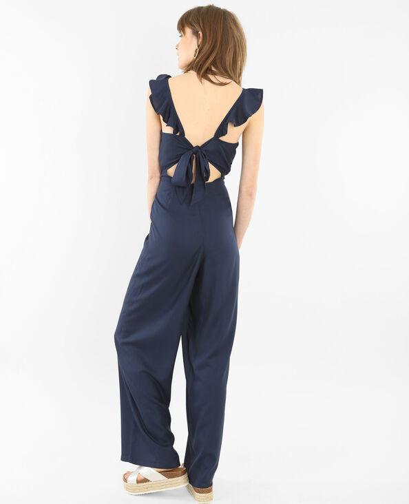 Abito pantalone schiena scoperta con volant blu marino