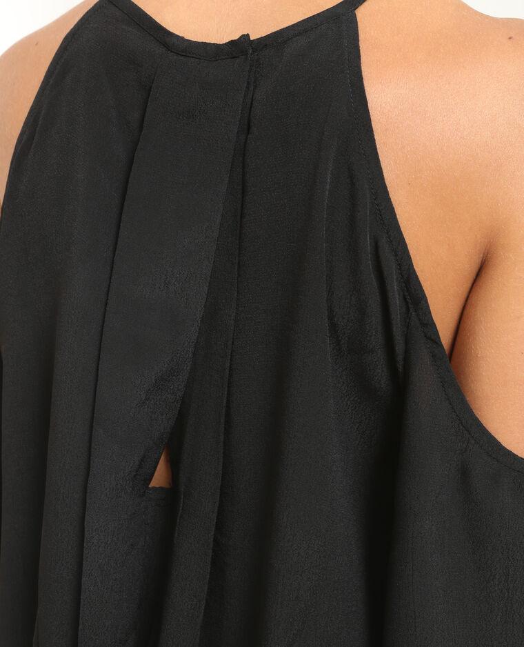 Bluse mit Perlen und Peekaboo- Ärmeln Schwarz