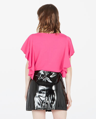 T-shirt met ruches roze