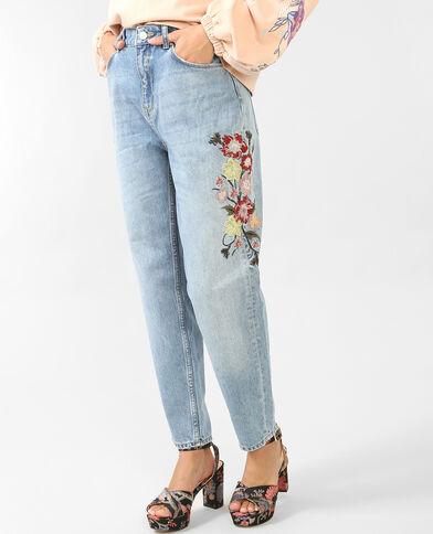 Bestickte Mom-Jeans Blau