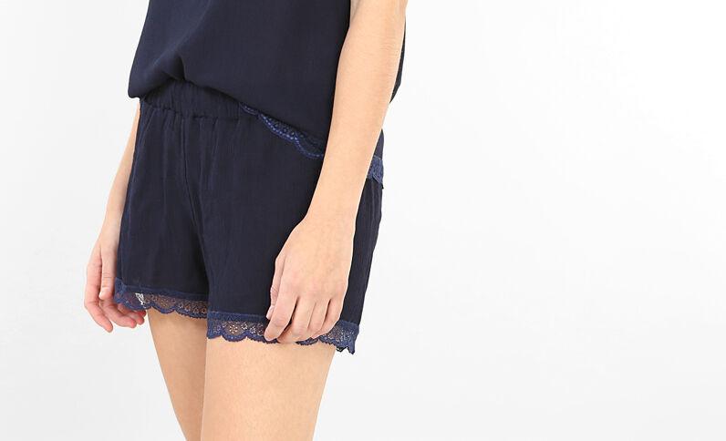 Homewear-Shorts mit Spitze Blau