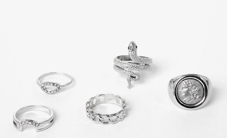 Lotto di anelli argentati grigio paillettato