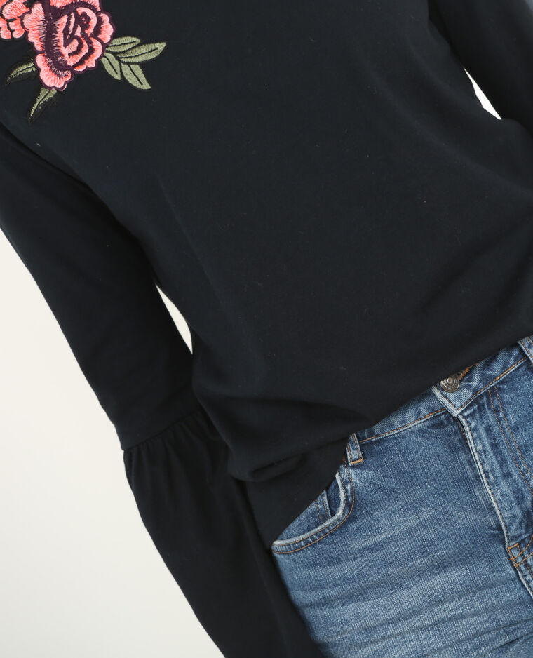 T-Shirt mit Pagoden-Ärmeln Schwarz