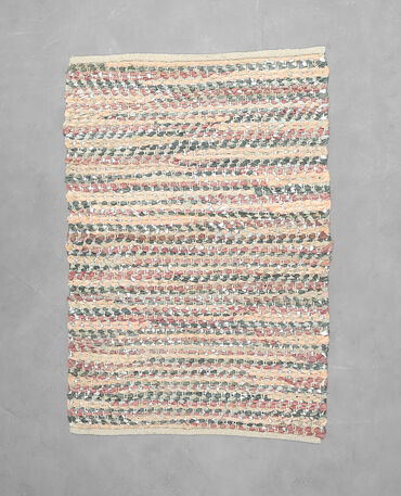 Teppich aus Baumwolle und Leder Rosa