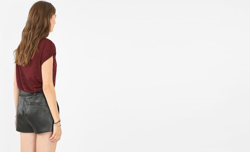 T-Shirt verziert mit Schmuckelementen Granatrot