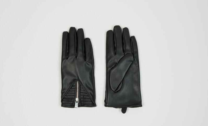 Biker-Handschuhe mit Reißverschluss Schwarz
