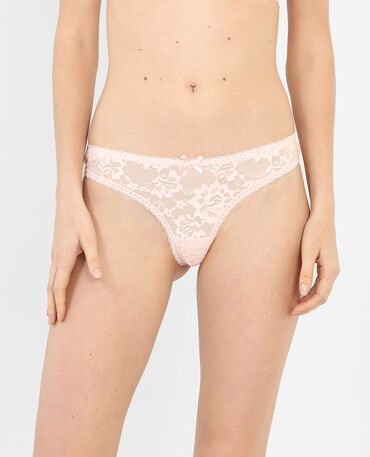 Lot de strings dentelle rose