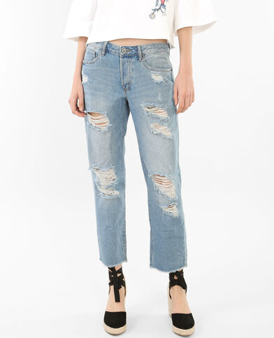 7/8 destroyed jeans blauw