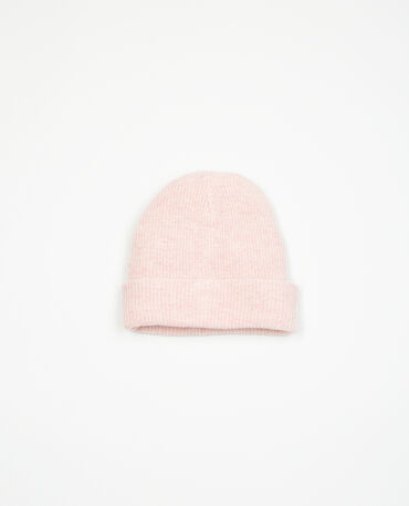 Gorro beanie acanalado rosa palo