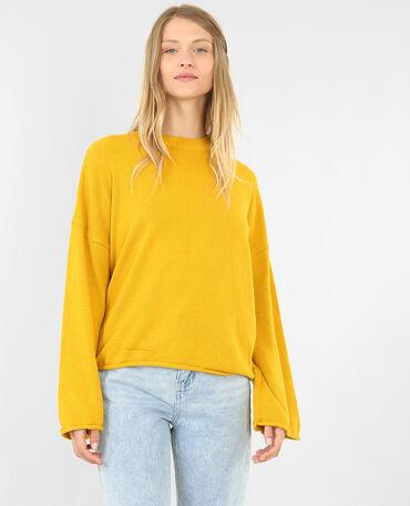 Weit geschnittener Pullover Senfgelb