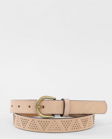 Cinturón con tachuelas beige