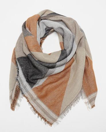 Warmer Schal mit Muster Kastanienbraun