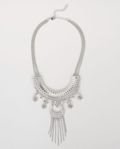 Brede halsketting zilvergrijs