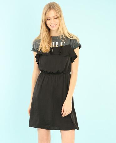 Satin-Kleid mit Rüsche Schwarz