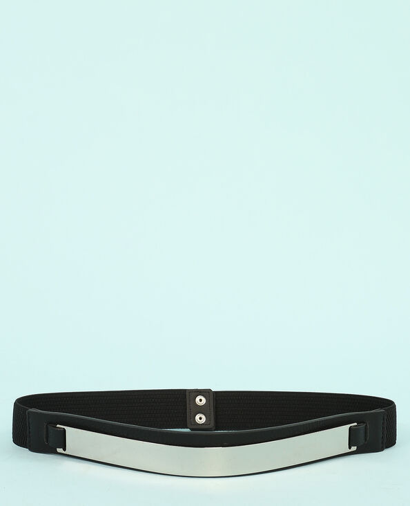 Cintura con targhetta di metallo nero