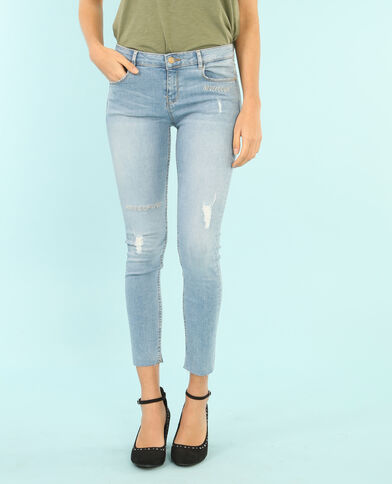 Skinny-Jeans aus Stretch-Material mit Stickerei Blau