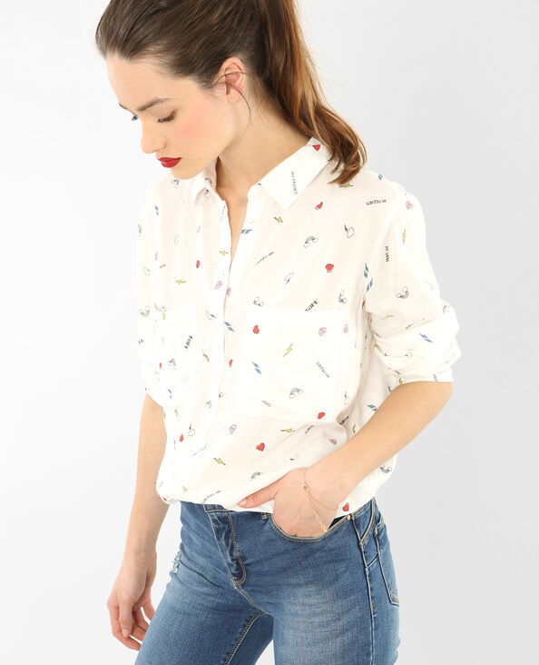 Camisa estampada marfil