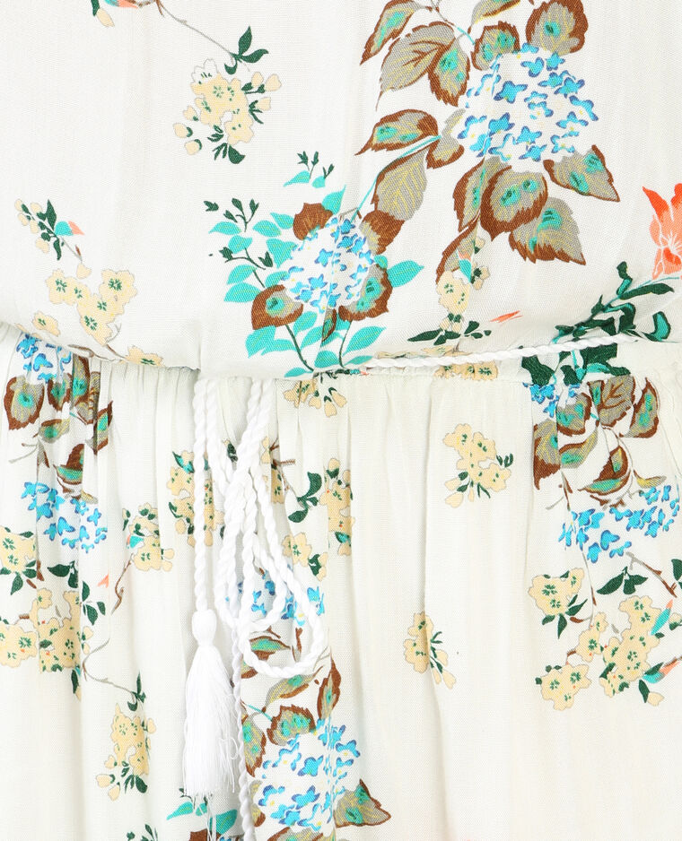 Weich fallendes Kleid mit Peekaboo-Ärmeln Weiß