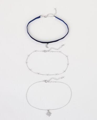 Colliers chokers charms gris argenté