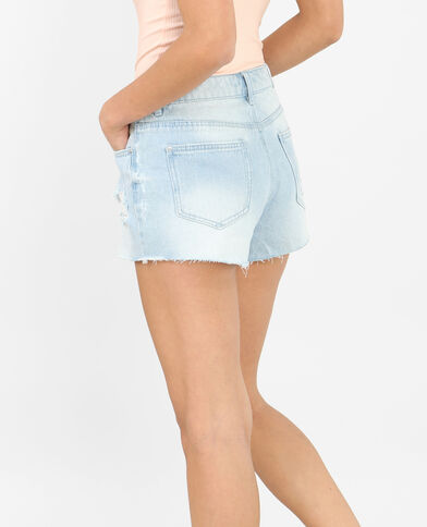 Jeansshort met destroyed look blauw