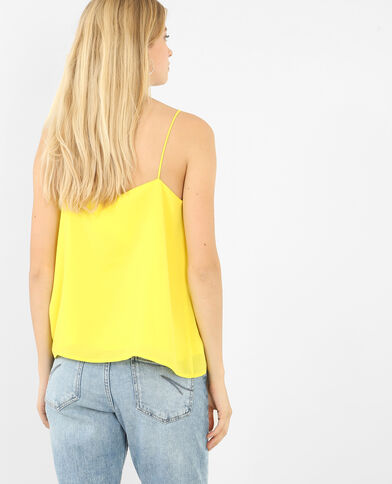 Topje met dunne gekruiste bandjes aan de voorkant geel
