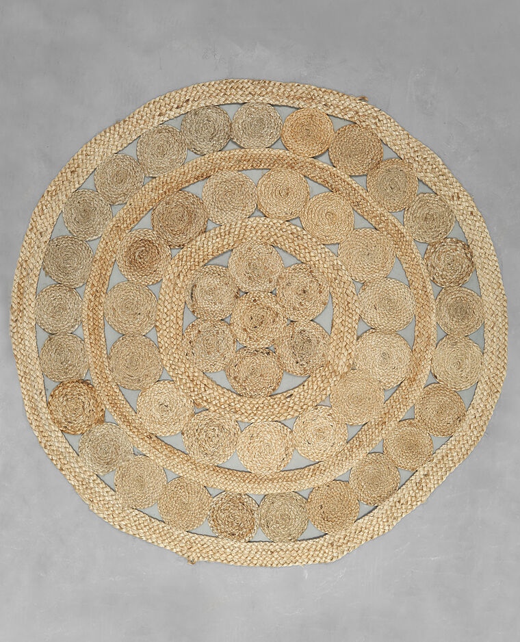 Tapis rond jute beige taupe