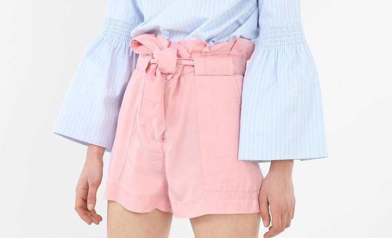 Shorts de talle alto de tencel rosa