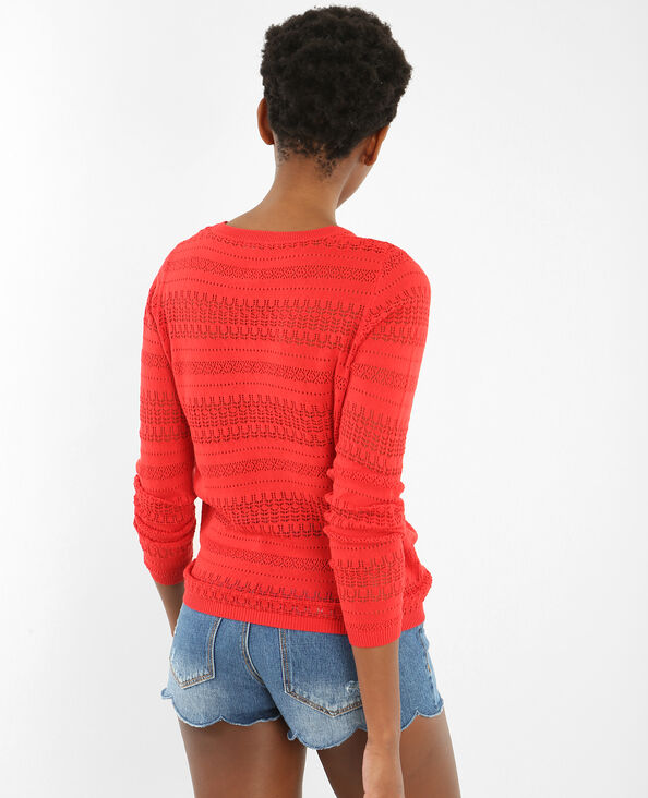 Leichter Pullover mit Ajour-Muster Rot