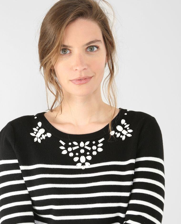 Matrosen-Pullover mit Strass Schwarz