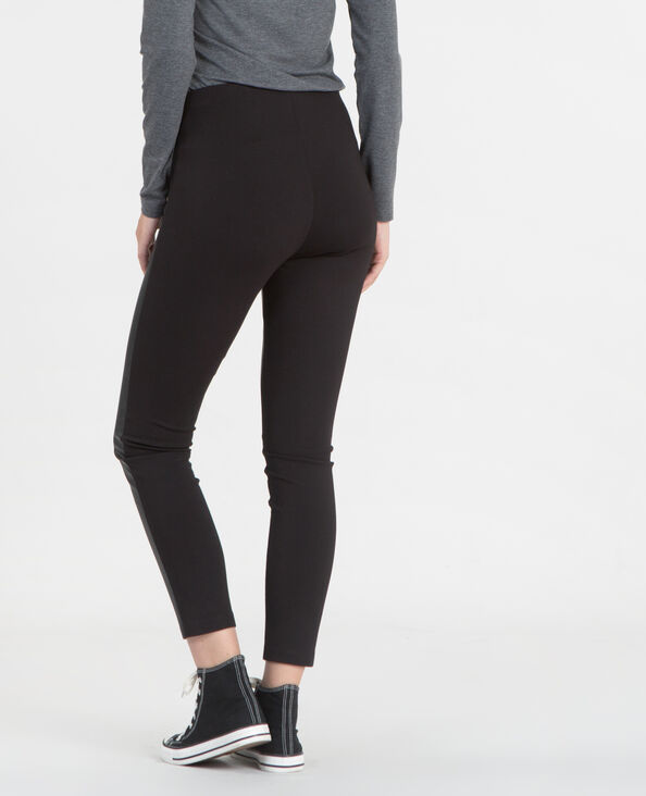Leggings aus Materialmix Schwarz
