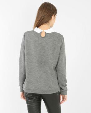 Sweatshirt mit Schmuck-Kragen Grau