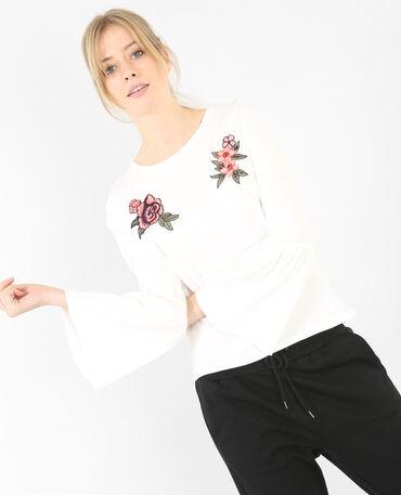 T-Shirt mit Pagoden-Ärmeln Altweiß
