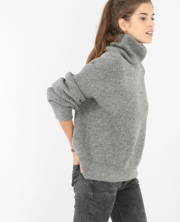 Oversized-Pullover mit Rollkragen Grau meliert