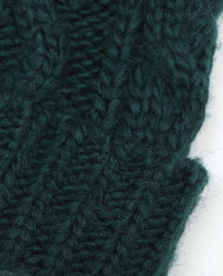 Bonnet torsadé pompon vert d'eau