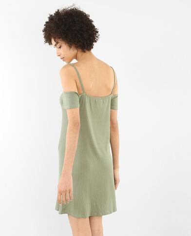 Robe côtelée peekaboo vert