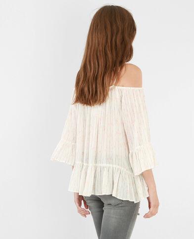 Blusa con hombros descubiertos marfil