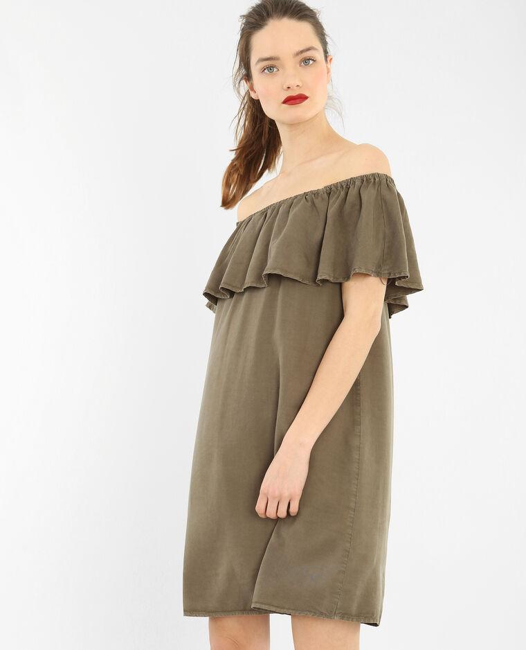 Bardot-Rüschenkleid Khaki