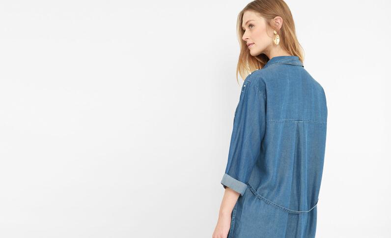 Robe chemise à perles bleu