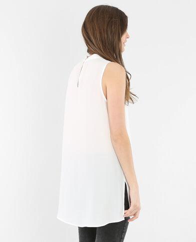 Blusa morbida senza maniche bianco sporco