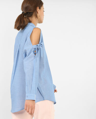 Blouse met blote schouders blauw