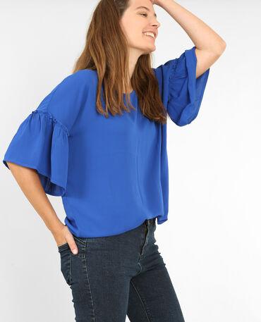 Bluse mit ausgestellten Ärmeln Metallic-Blau