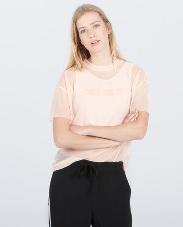 Camiseta de rejilla 2 en 1 rosa palo