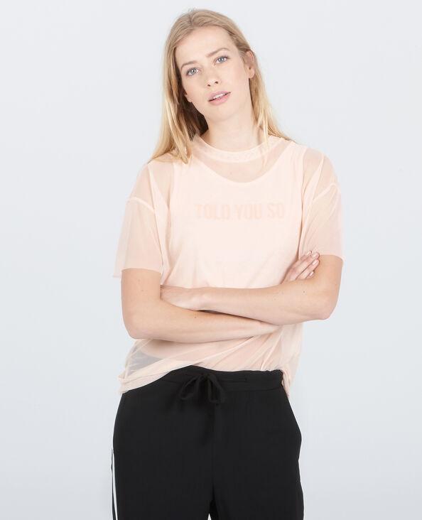 """""""2 in 1""""-T-Shirt aus Netzstoff Zartrosa"""