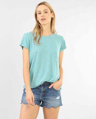 T-shirt femme moucheté vert menthe