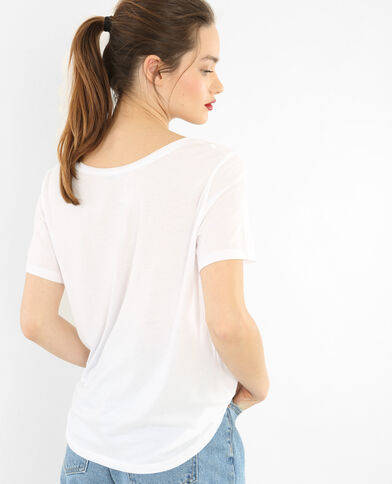 T-shirt col raw cut blanc cassé